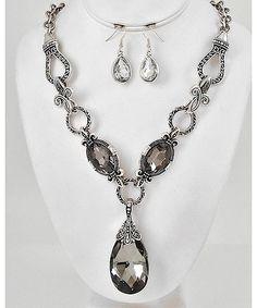 https://shoplately.com/u/g2992szr Antique Silver Tone Metal / Black Diamond Glass / Lead&nickel Compliant / Fleur De Lis Design / Pendant Necklace set