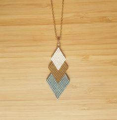 Saltire Gaia Aqua gold plated and glass Miyuki beads weaving