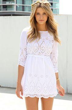 SABOSKIRT White Embroidered Dress