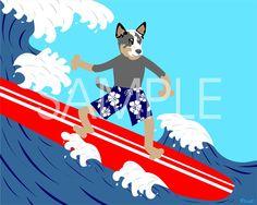 Australian Cattle Dog Surfer Art 8x10 Print. $9.00, via Etsy.