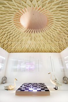 "Goldeneye duck´s nest and Osmo Rauhala´s installation ""Game of life"". Photo: Jari Kostet"