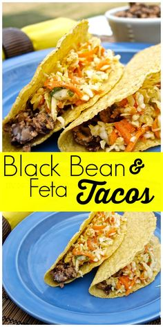 Smoky Black Bean and Feta Tacos with a no-mayo coleslaw.  VERY easy vegetarian meal!