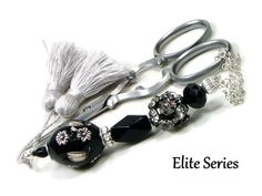 Scissor Fob Elite Series Modern Scissor Keeper Scissor Minder Black White Beaded USD) by TJBdesigns Tennis Bag, Knitting Supplies, White Beads, How To Make Beads, Cross Stitch Embroidery, Scissors, Needlework, Bracelet Watch, My Design