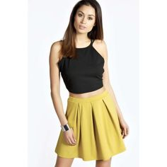 Boohoo Basics Katie Box Pleat Scuba Skater Skirt ($7) ❤ liked on Polyvore featuring skirts, olive, box pleat skirt, olive pencil skirt, pastel skater skirt, circle skirt and army green pencil skirt