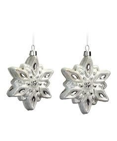 Take a look at this White Shining Snowflake Ornament - Set of Two by Melrose on #zulily today!