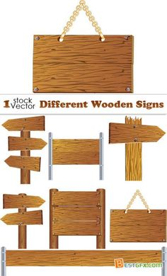 Different Wooden Signs Vector