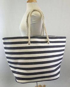 Black Large Stripe Monogram Beach Bag by NolaChicks on Etsy, $30.00