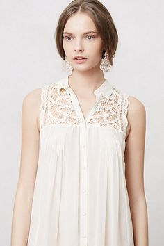 more lace - inserted on front and back yoke of button-down top/tunic