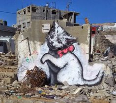 by Banksy in Gaza, More information: http://abcnews.go.com/Entertainment/wireStory/mysterious-graffiti-artist-banksy-illustrates-gaza-debris-29274208 / plus d'info : http://www.lesinrocks.com/2015/02/26/actualite/banksy-dessine-un-chaton-gaza-pour-interesser-internet-11566156/