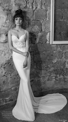 julie vino 2017 bridal spagetti strap sweetheart neckline heavily embellished bodice fit and flare sheath wedding dress open low back chapel train (1259) mv -- Romanzo by Julie Vino 2017 Wedding Dresses