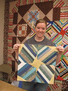 Jean's Quilting Page: Stringpiecing class Note the effect of adding a wedge-shaped piece at opposite corners of the string squares.  When joined together, they form a pinwheel at the center.