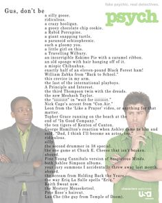 Psych: Shawn and Gus :) I will miss this show SO much! Shawn And Gus, Shawn Spencer, Psych Quotes, Movie Quotes, Psych Memes, Tv Quotes, Memes Humor, Best Tv Shows, Best Shows Ever