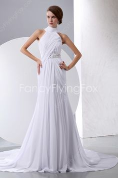fancyflyingfox.com Offers High Quality Classic High Neckline Halter A-line Floor Length Casual Beach Wedding Dresses ,Priced At Only US$189.00 (Free Shipping)