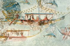 Minoans were pioneers in long-distance ocean travel. Much of their art has a maritime theme as the one pictured, a 16th c. BCE fresco found on the island of Santorini.