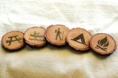 Camping Symbols Wood Burned Coasters by AppliedPressure on Etsy, $25.00