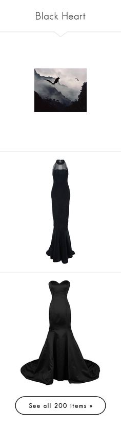 """""""Black Heart"""" by amber-daylight ❤ liked on Polyvore featuring dresses, gowns, long dresses, navy, navy blue ball gown, navy blue dress, navy dress, navy evening dress, long satin dress and satin dress"""