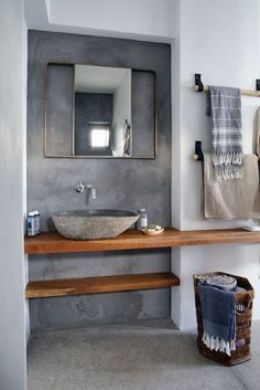 Bohemian spirit on the island of Syros by Block 722 architects - . - Bohemian spirit on the island of Syros by Block 722 architects – - Rustic Bathroom Designs, Bathroom Interior Design, Modern Bathroom, Interior Design Living Room, Small Bathroom, Cement Bathroom, Bathroom Cupboards, Beige Bathroom, Shower Designs