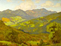 William Wendt (1865-1946). Converging Fields (Mountains of Malibu). Oil on Canvas, 30 x 40 in.