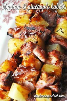 BBQ Ham and Pineapple Kabobs #Grilling