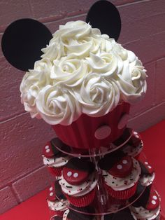 Mickey Mouse cupcakes. Giant Mickey Mouse cupcake. Giant cupcake.