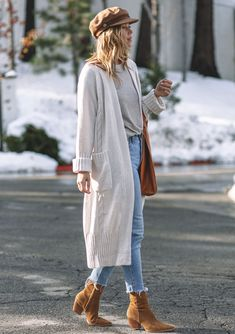 Oversized Cardigan Outfit, Winter Cardigan Outfit, Long Sweater Outfits, Cable Knit Cardigan, Long Sweaters, Long Cardigan Sweater, Maxi Cardigan, Boho Fashion Winter, Winter Fashion Outfits