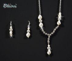 Bridal Wedding VALENTINA  Rhinestone Pearl by OliniBridalJewelry, $58.00