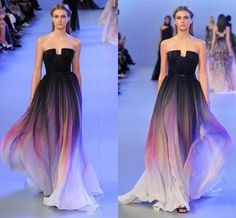 2015 Elie Saab Backless Evening Dresses Black Colorful Dyed Fabric Chiffon Pleated Floor Length Cheap Formal Prom Party Runaway DressBG50374, $67.02 | DHgate.com
