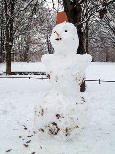 Klassisch im Rosengarten mit einem sehr schönen roten Fes - unser Schnee-Sultan.     Der temporäre Skulpturen-Park in Dresden mit - Schneefrauen, Schneemännern, Schneekindern & Schneeschnecken. (24. Februar 2013)