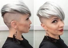 Pixie Hairstyles, Cool Hairstyles, Short Hair Cuts, Short Hair Styles, Grey White Hair, Buzzed Hair, Half Shaved Hair, Corte Y Color, Shaved Sides