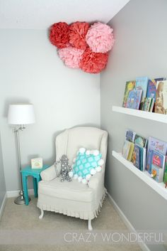 I love how the chair, tiny table and lamp are set up. Martha Stewart Nimbus Cloud
