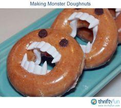 Halloween food. Used: Krispy Kreme regular glazed donuts, fake vamp teeth, and chocolate chips.