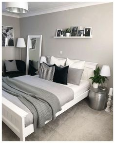 Bedroom decor - 47 Mythical Answers To Master Bedroom Layout Furniture Dressers Disclosed 39 Trendy Bedroom, Modern Bedroom, Teen Bedroom Colors, Bedroom Romantic, Room Color Ideas Bedroom, Gray Room Decor, Bedroom Themes, Gray Bedroom Color Schemes, Paint Ideas For Bedroom