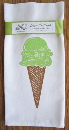 ice cream organic  tea towel