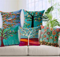 cushion cover chair pillow cover coussin decorative cojines almofadas para sofa throw pillows trees cushions home decor Printed Cushions, Decorative Cushions, Throw Cushions, Decorative Pillow Covers, Throw Pillow Covers, Sofa Throw, Pillow Cases, Seat Cushions, Floral Cushions