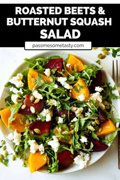This beautiful salad is a simple gluten-free recipe packed with nutrition and flavor. Roasted beets and butternut squash are served over spicy arugula and topped with crunchy pepitas and creamy goat cheese. Top off the salad with a simple and tasty balsamic vinaigrette dressing and serve as a simple lunch recipe, dinner salad or a beautiful side dish for your fall and winter holiday meals. #salad #saladrecipes #healthysaladrecipes #salads #glutenfreerecipes #sidedishrecipes Easy Salads, Healthy Salad Recipes, Spicy Recipes, Lunch Recipes, Dinner Recipes, Gluten Free Recipes For Dinner, Healthy Gluten Free Recipes, Squash Salad, Vegan Main Dishes