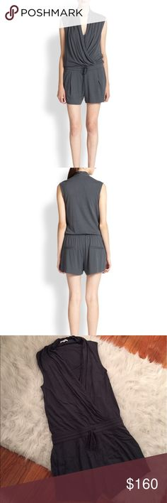 Helmut Lang Jersey Romper Short jersey jumpsuit/romper from Helmut Lang in charcoal grey. Super comfortable! Worn only 2 times. 50% modal, 50% pima cotton. Contains a drape front detail with built in cami, elastic waist with drawstring, front pockets and faux back pockets. Images above from Saks. Helmut Lang Pants Jumpsuits & Rompers