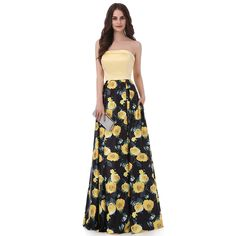 Yellow Printed Flower Sweetheart Pattern Long Prom Dress with Side Pocket
