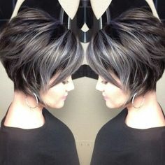 Dark Hair With Gray Highlights Google Search