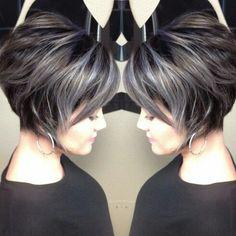 Unique Hair Color Styles for Short Hair - Love this Hair Unique Hair Color Styles for Short Hair - Love this Hair Gray Hair Highlights, Caramel Highlights, White Blonde Hair, Ash Blonde, Dark Hair, Transition To Gray Hair, Silky Hair, Unique Hairstyles, Hairstyles 2016