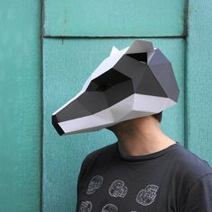 Badger Mask  make your own polygon animal mask by Wintercroft