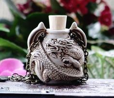 Old European Master Crafted Magical Arts™ Magical Jewelry, Bottle Necklace, Oil Bottle, Clay Beads, Alchemy, Artisan, Dragon, Pendant, Crafts