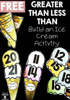"""""""Less than, greater than"""" math activity with ice cream cones for kids in kindergarten or first grade. What better way to practice number values! - Kids education and learning acts Elementary Math, Kindergarten Math, Teaching Math, Preschool Math, Creative Teaching, Second Grade Math, First Grade Classroom, Grade 2, Third Grade"""
