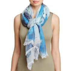 Aqua Watercolor Floral Scarf - 100% Exclusive (97 CAD) ❤ liked on Polyvore featuring accessories, scarves, azure, floral scarves, wrap shawl, floral shawl and floral print scarves