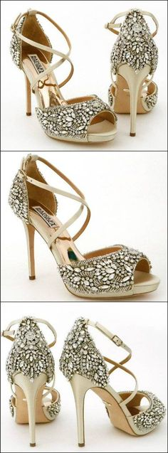 Badgley Mischka Hyper, Ivory Wedding Shoes. Shoe lovers, sparkle lovers, these are your wedding shoes. Crystal encrusted bridal shoes for a dazzling walk down the aisle. #weddingshoes