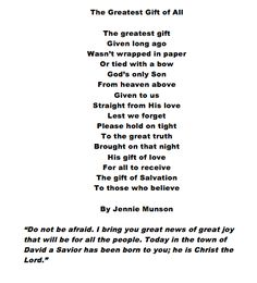 The Greatest Gift. A Christmas Poem. For my graders in our Christmas Program. Christmas Verses, Christmas Tea, A Christmas Story, Christmas Holidays, Christmas Plays, Christmas Skits, Christmas Neighbor, Childrens Christmas, Preschool Christmas