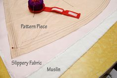 Two methods for cutting slippery fabric.