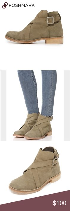 Free People Las Palmas Booties Sz 41 A crisscross buckle strap secures the split shaft on these rugged Free People booties. Stacked heel and leather sole.    Measurements Heel: 1in / 25mm Free People Shoes Ankle Boots & Booties