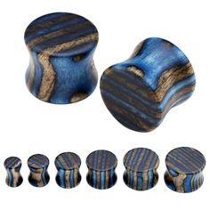 blue and grey striped wooden double flare gauges.