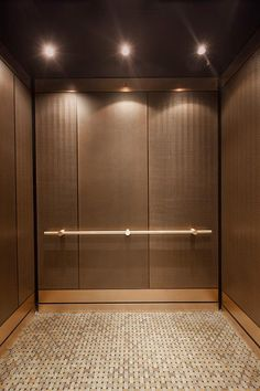 Beautiful LEVELe 101 Elevator Interior With Customized Panel Layout; Panels In Bonded  Bronze With Dark