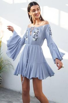 c83e3e9f8d11 Embroidered Romper-Blue Ruffle Shorts